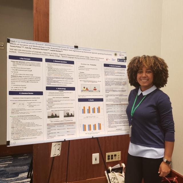 Yerania presenting her poster at CUR 2019